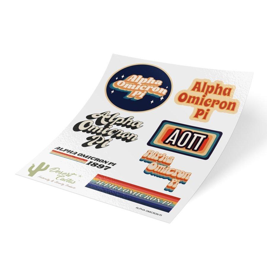 Alpha Omicron Pi 70's Sticker Sheet