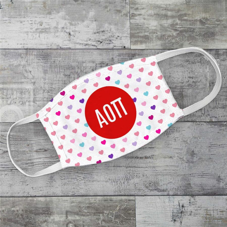 Alpha Omicron Pi Hearts Face Mask
