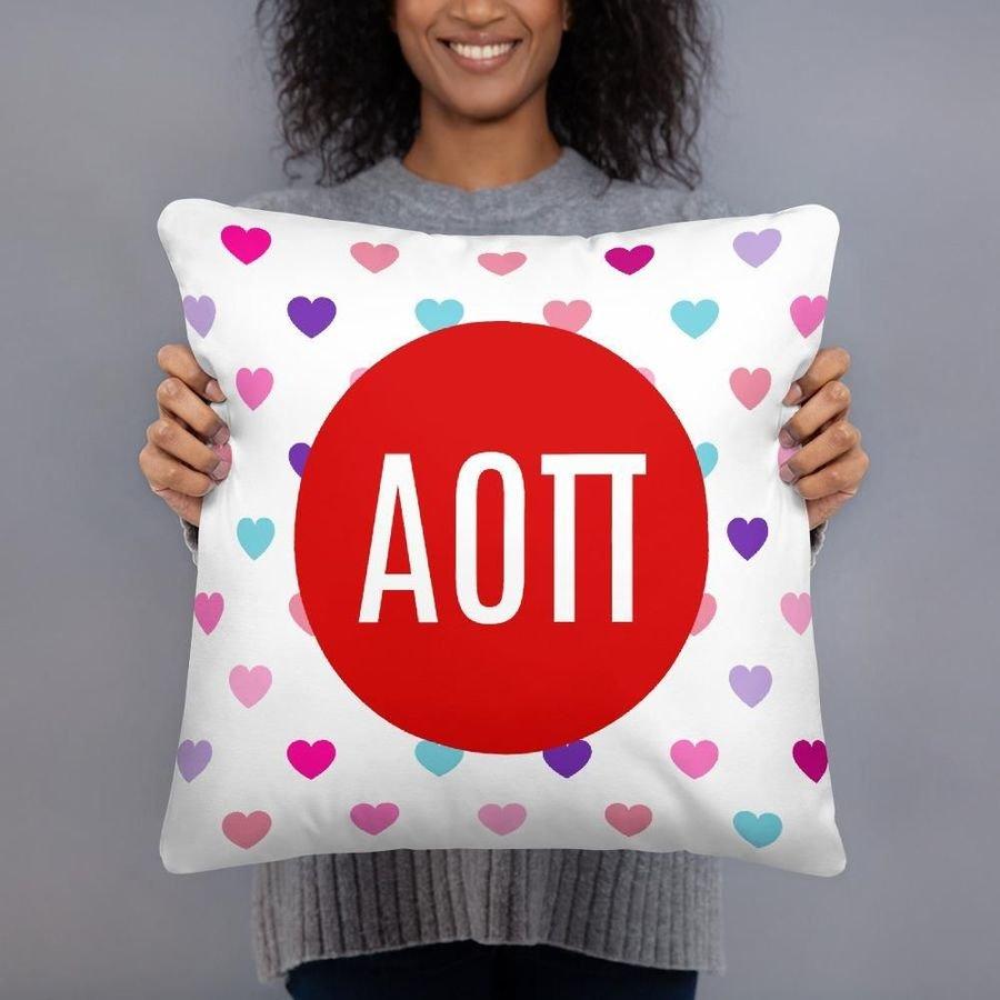 Alpha Omicron Pi Hearts Pillow
