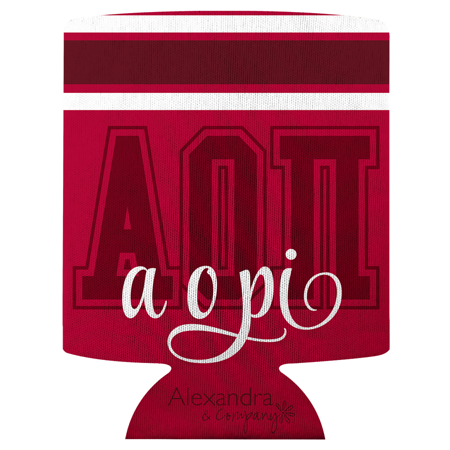 Alpha Omicron Pi Striped Can Cooler
