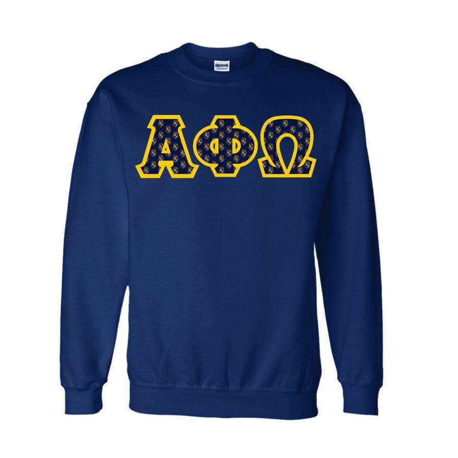 Alpha Phi Omega Fraternity Crest - Shield Twill Letter Crewneck Sweatshirt