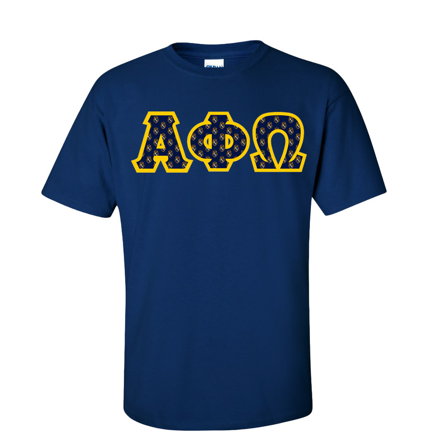 Alpha Phi Omega Fraternity Crest - Shield Twill Letter Tee