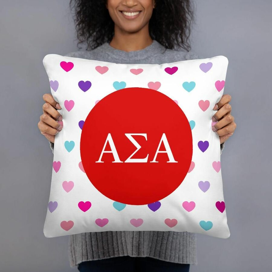 Alpha Sigma Alpha Hearts Pillow