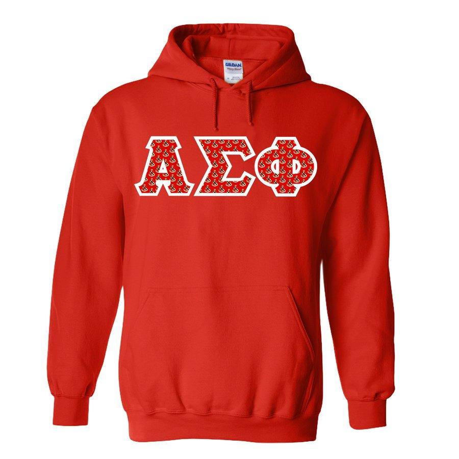 Alpha Sigma Phi Fraternity Crest - Shield Twill Letter Hooded Sweatshirt