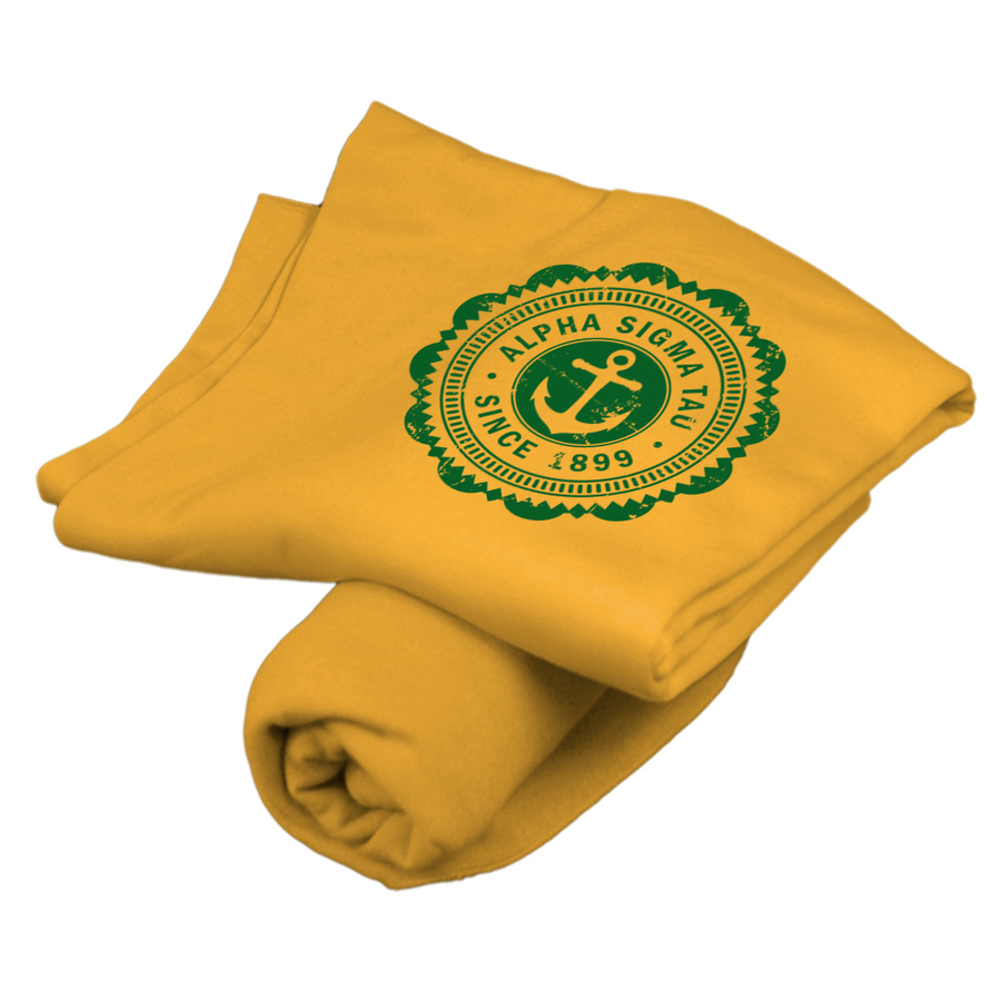 Alpha Sigma Tau Old School Seal Sweatshirt Blanket