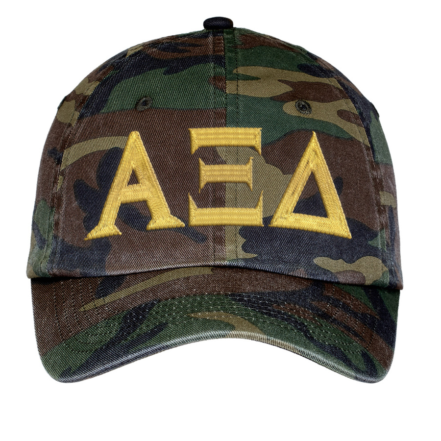 Alpha Xi Delta Lettered Camouflage Hat