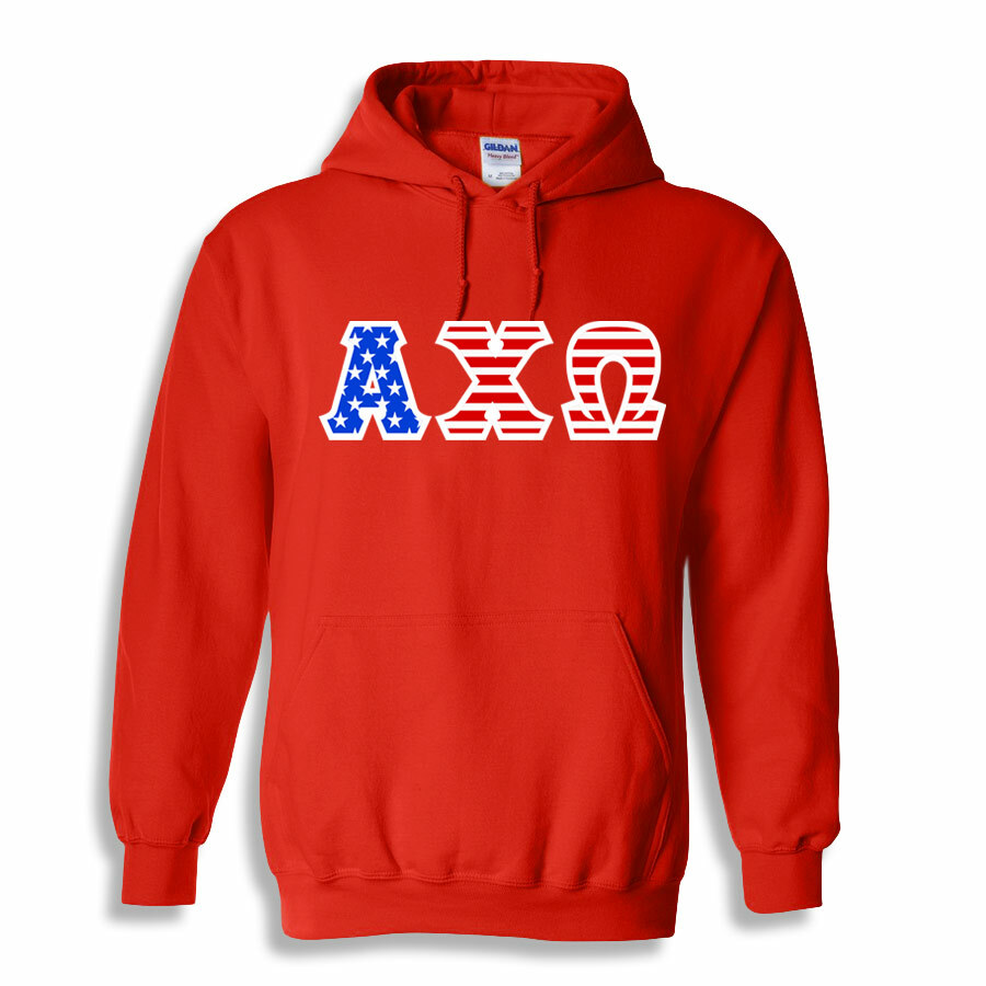 DISCOUNT-American Flag Lettered Hoodie
