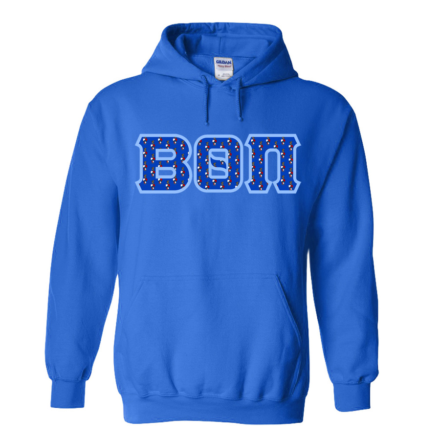 Beta Theta Pi Fraternity Crest - Shield Twill Letter Hooded Sweatshirt