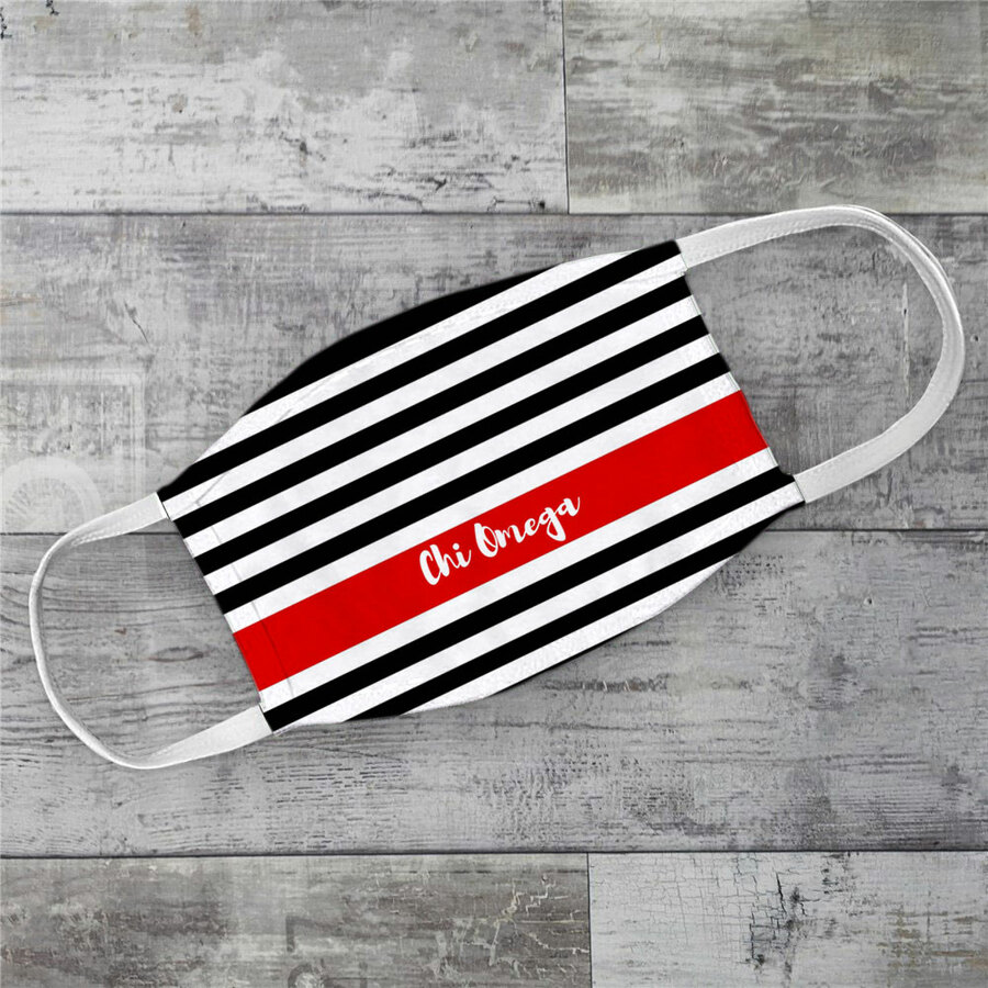 Chi Omega Stripes Face Mask