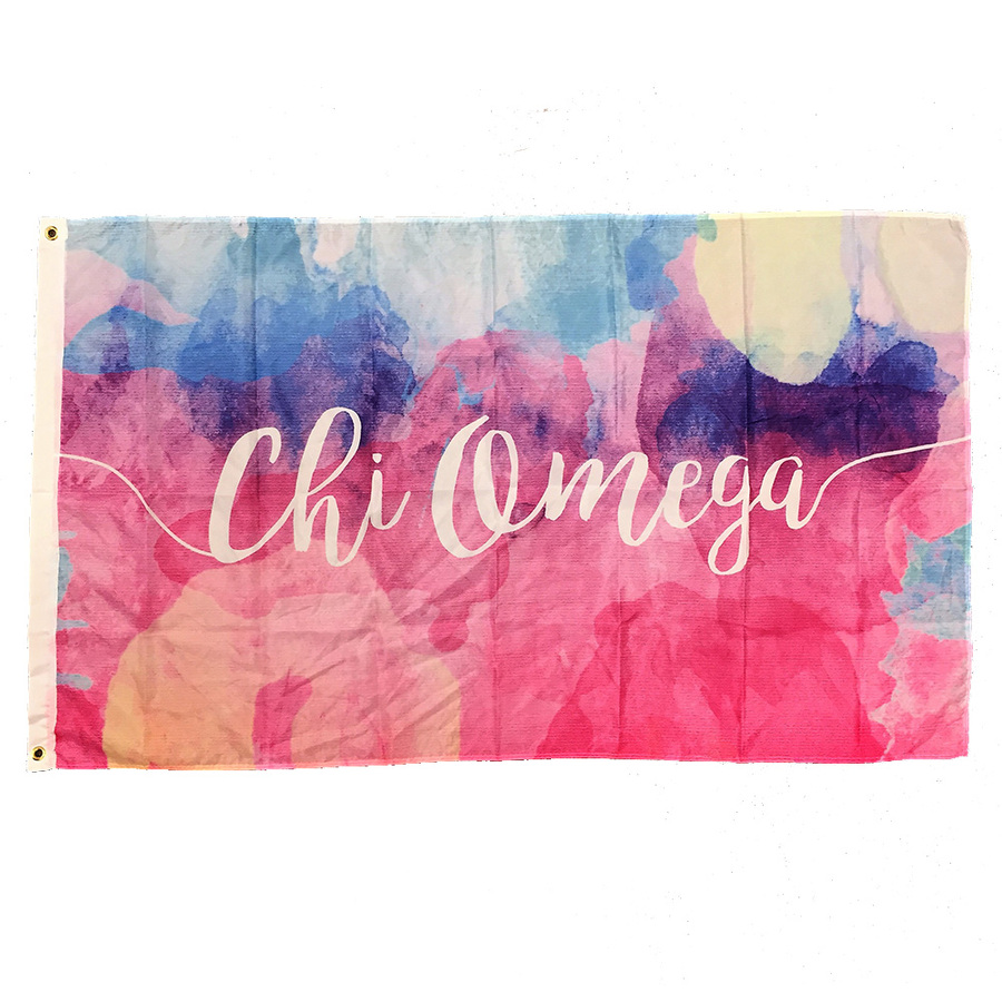 Chi Omega Watercolor Sorority Flag