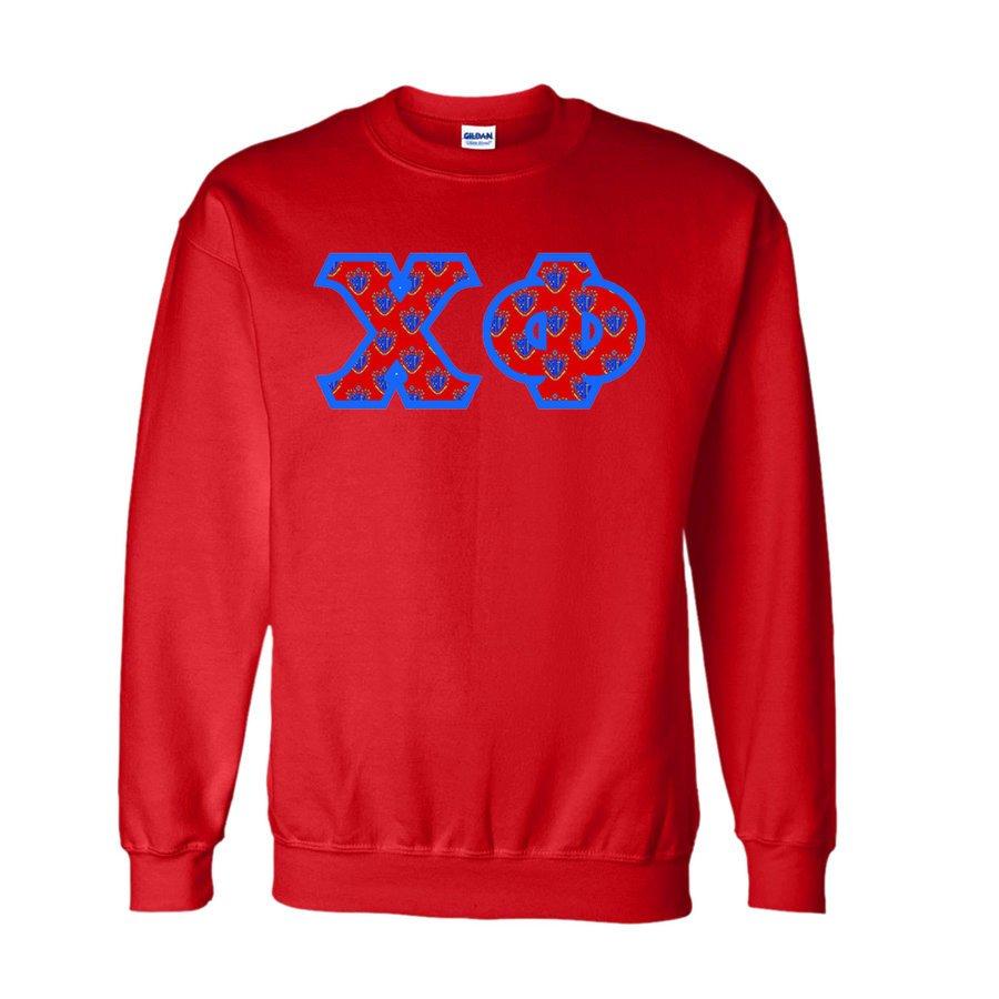 Chi Phi Fraternity Crest Twill Letter Crewneck Sweatshirt