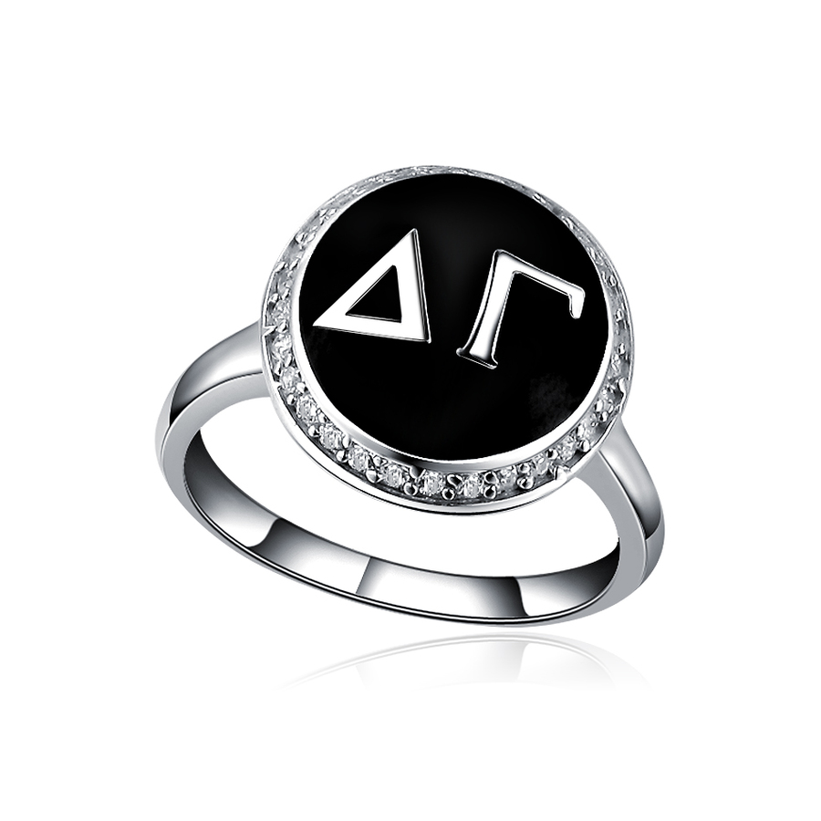 Delta Gamma Sterling Silver Ring with Black Enamel and Lab-created Diamonds