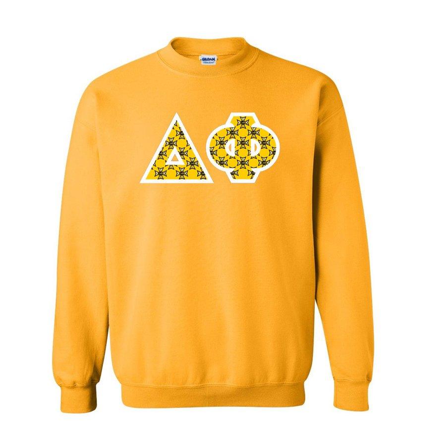 Delta Phi Fraternity Crest - Shield Twill Letter Crewneck Sweatshirt