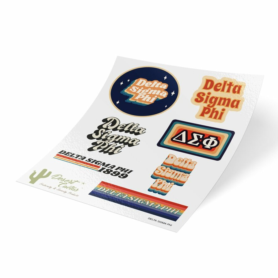 Delta Sigma Phi 70's Sticker Sheet