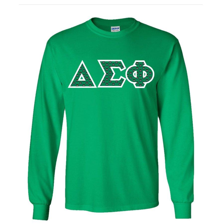 Delta Sigma Phi Fraternity Crest - Shield Twill Letter Longsleeve Tee