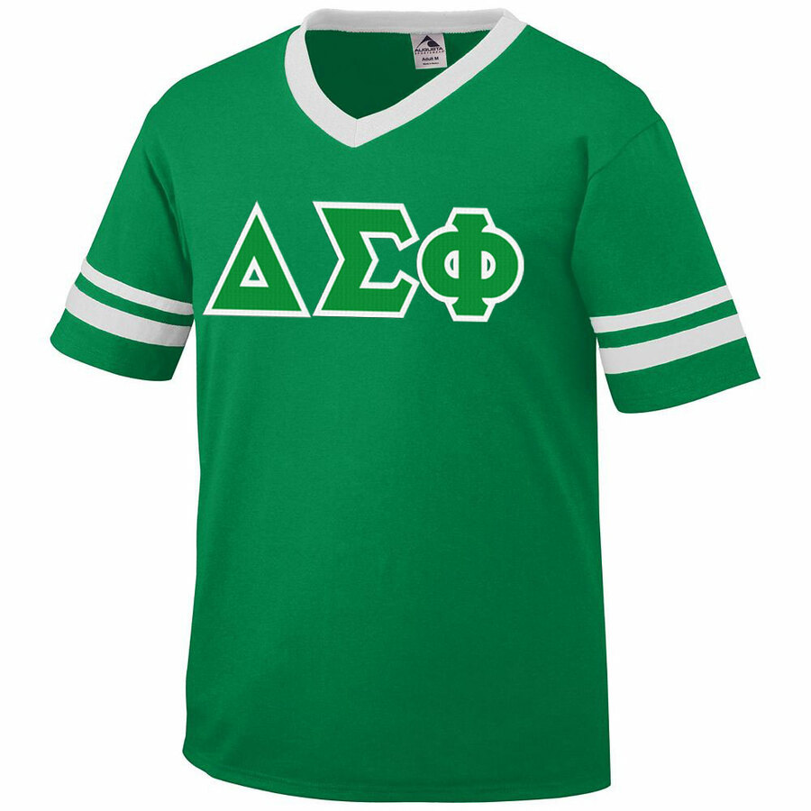 DISCOUNT-Delta Sigma Phi Jersey With Greek Applique Letters