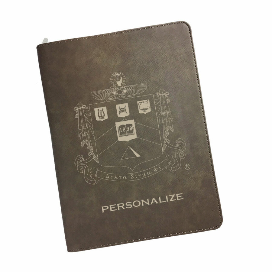 Delta Sigma Phi Zipper Leatherette Portfolio with Notepad