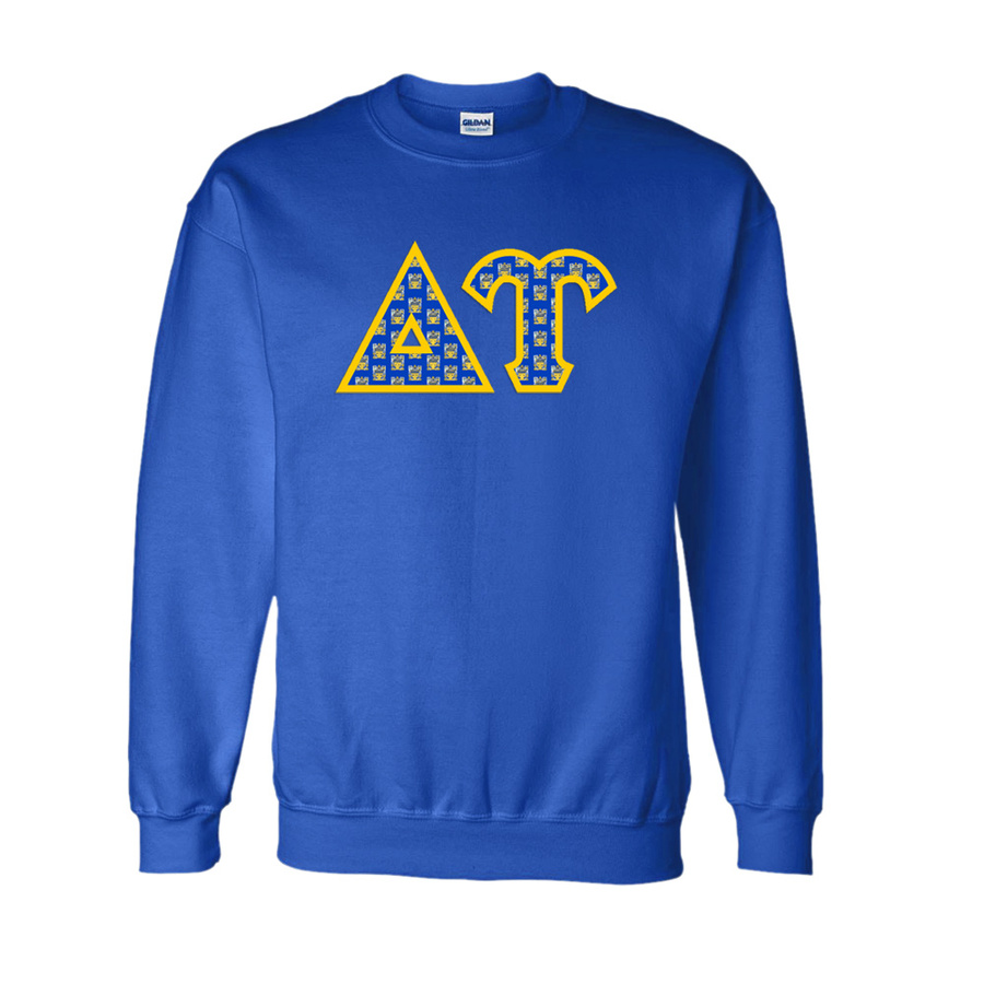 Delta Upsilon Fraternity Crest - Shield Twill Letter Crewneck Sweatshirt