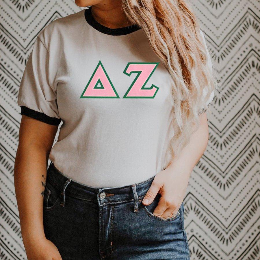 DISCOUNT-Delta Zeta Lettered Ringer Shirt