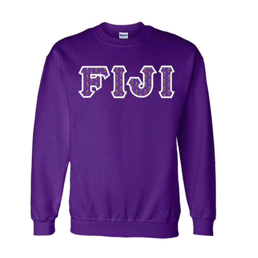 FIJI Fraternity Crest - Shield Twill Letter Crewneck Sweatshirt
