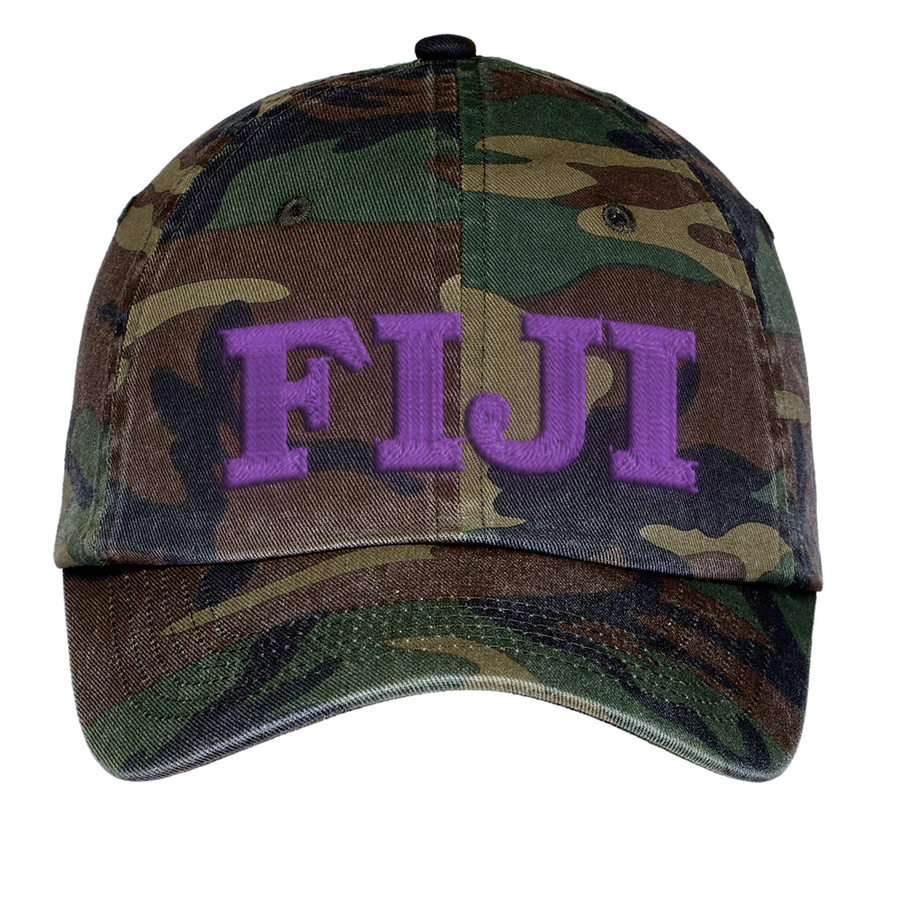 FIJI Fraternity Lettered Camouflage Hat