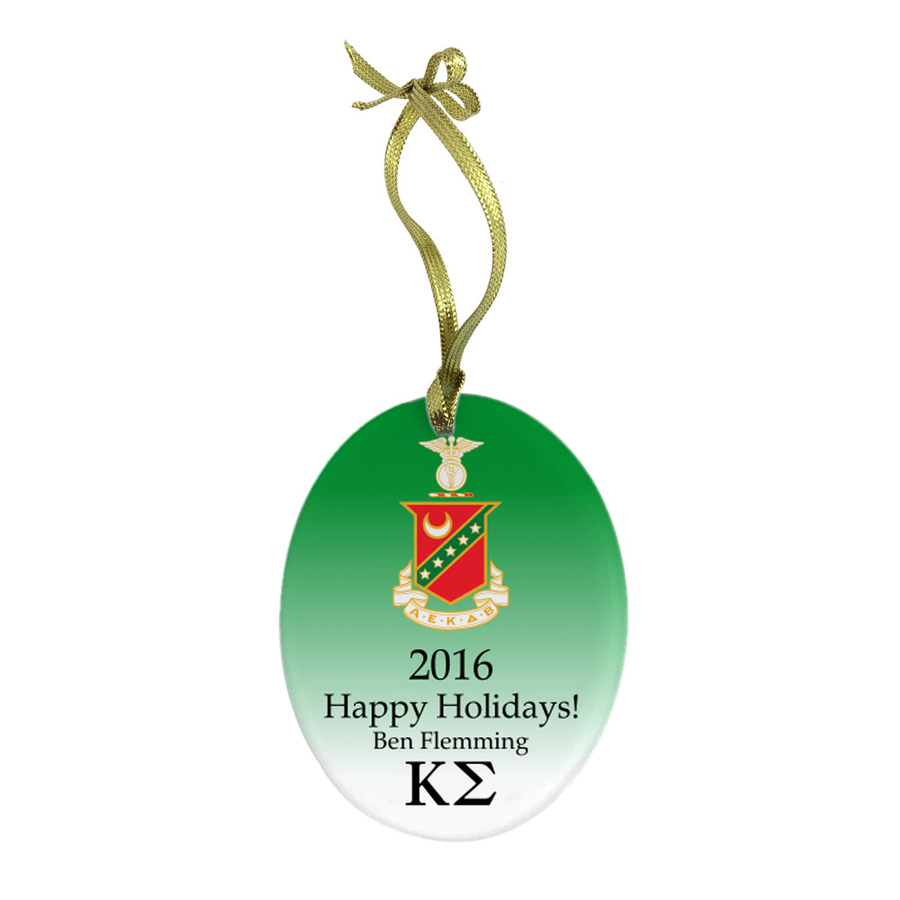 Greek Holiday Color Crest - Shield Glass Ornament