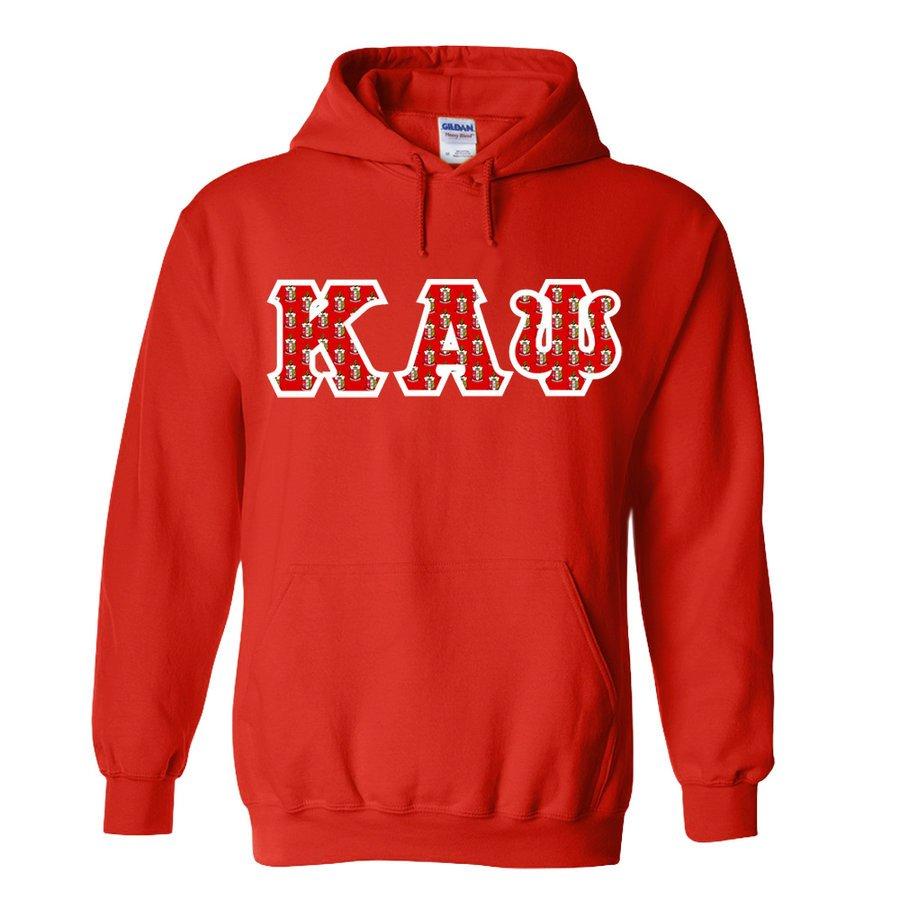 Kappa Alpha Psi Fraternity Crest - Shield Twill Letter Hooded Sweatshirt