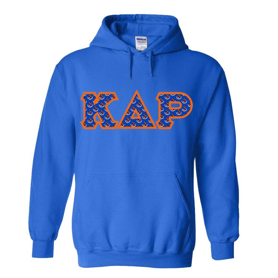 Kappa Delta Rho Fraternity Crest - Shield Twill Letter Hooded Sweatshirt
