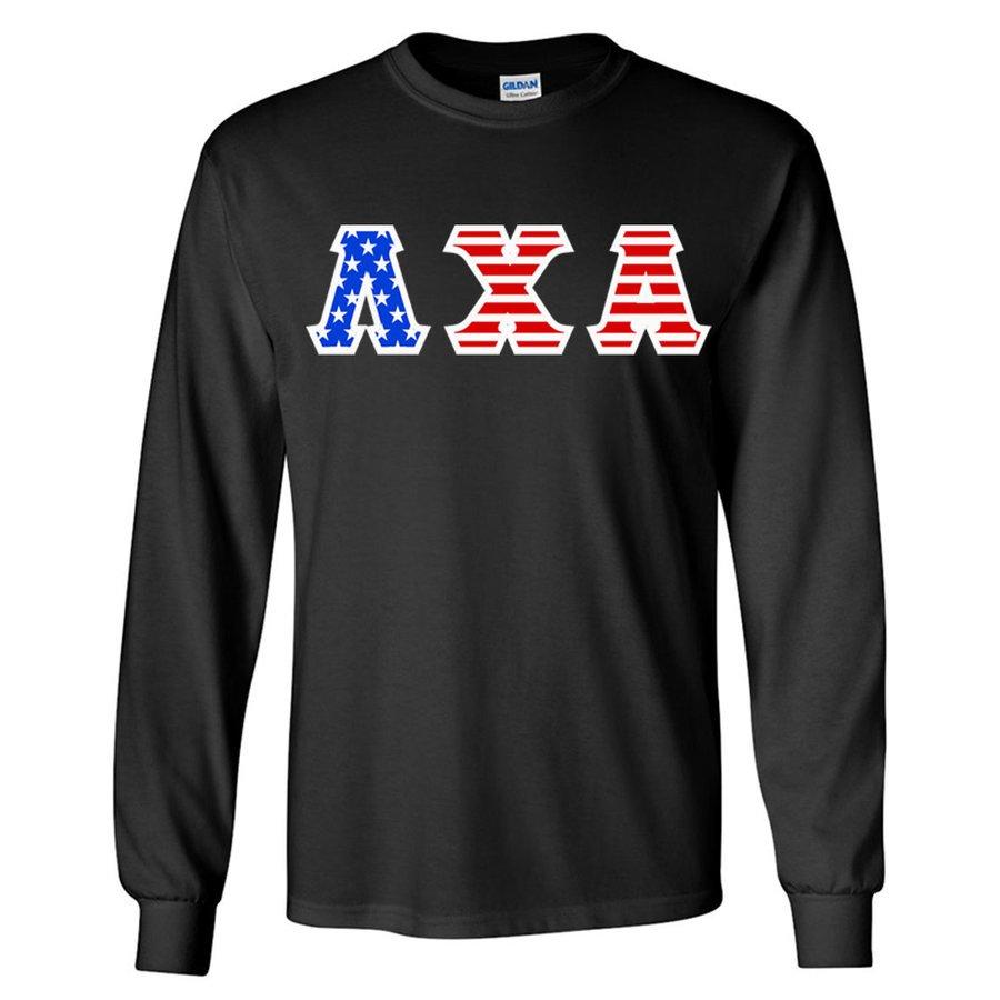 DISCOUNT-Lambda Chi Alpha Greek Letter American Flag long sleeve tee