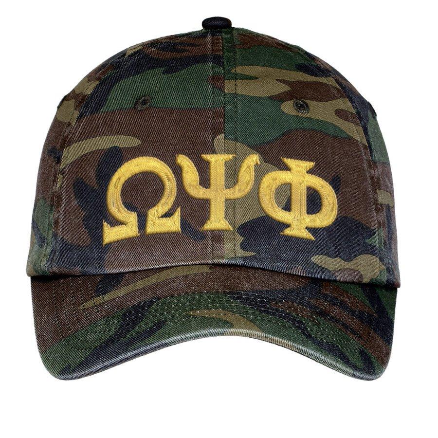 Omega Psi Phi Lettered Camouflage Hat