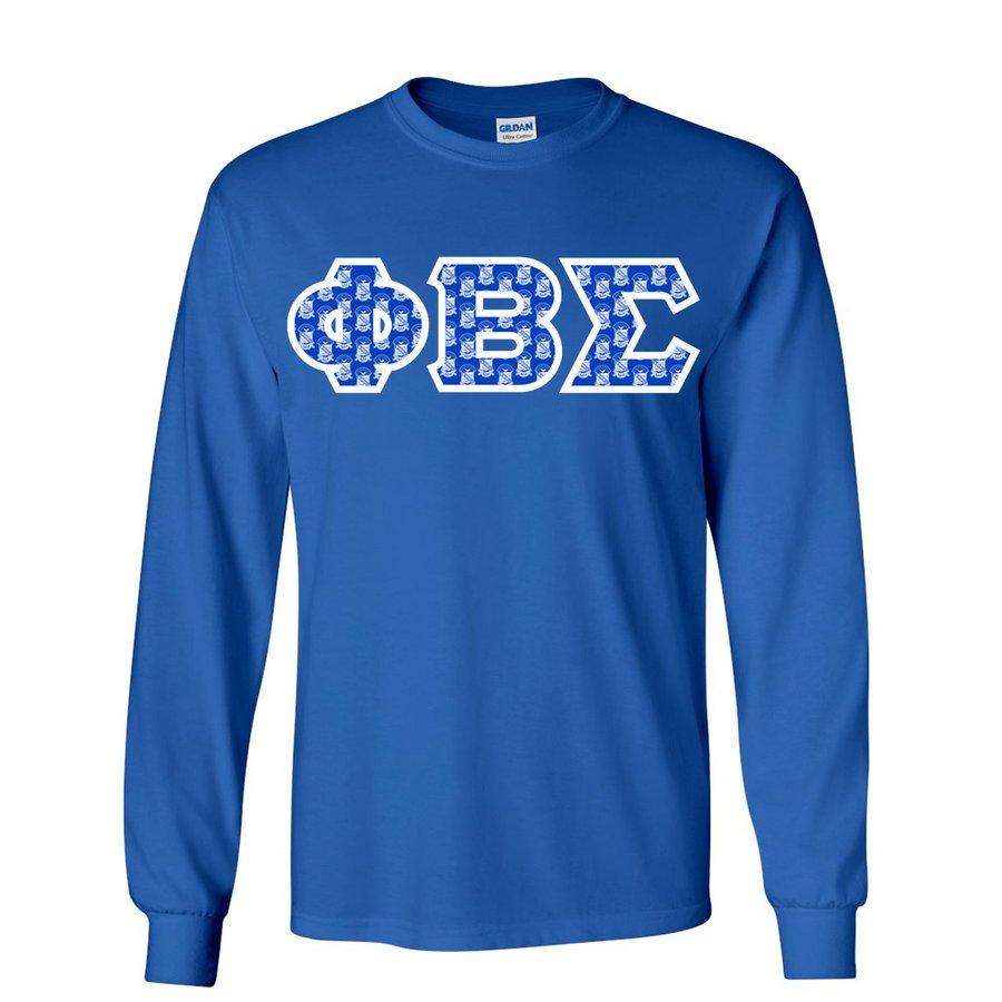 Phi Beta Sigma Fraternity Crest - Shield Twill Letter Longsleeve Tee