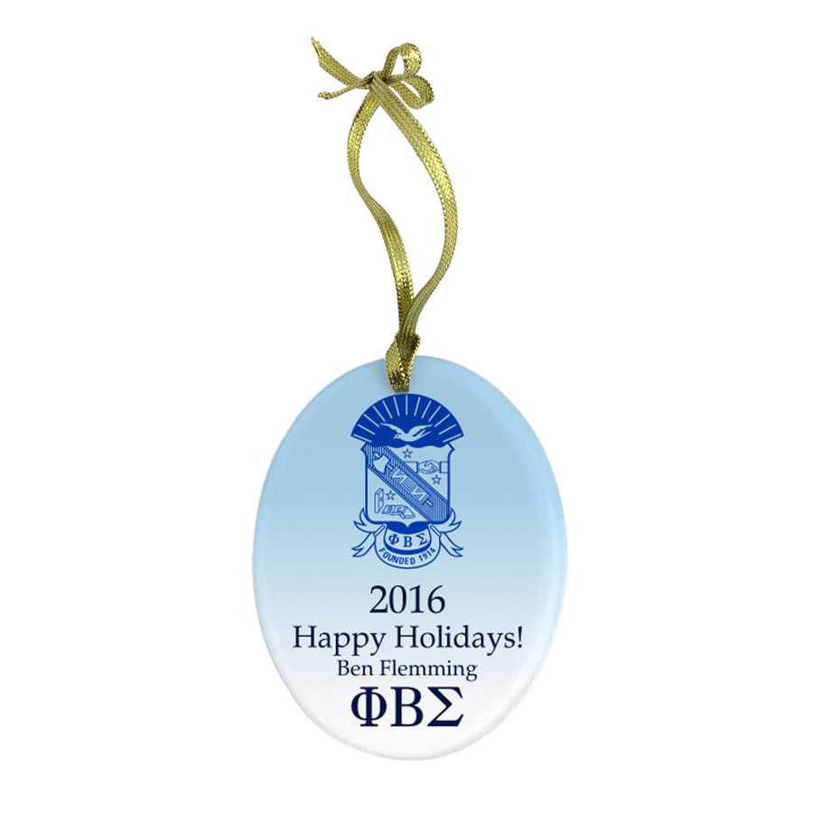 Phi Beta Sigma Holiday Color Crest - Shield Glass Ornament