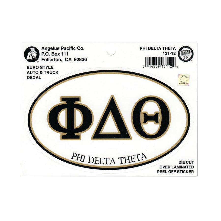 Phi Delta Theta Euro Decal Oval Sticker