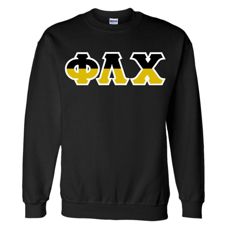 Phi Lambda Chi Two Tone Greek Lettered Crewneck Sweatshirt