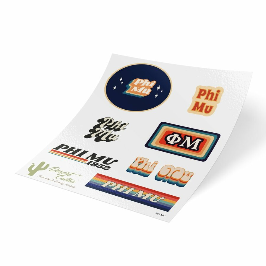 Phi Mu 70's Sticker Sheet