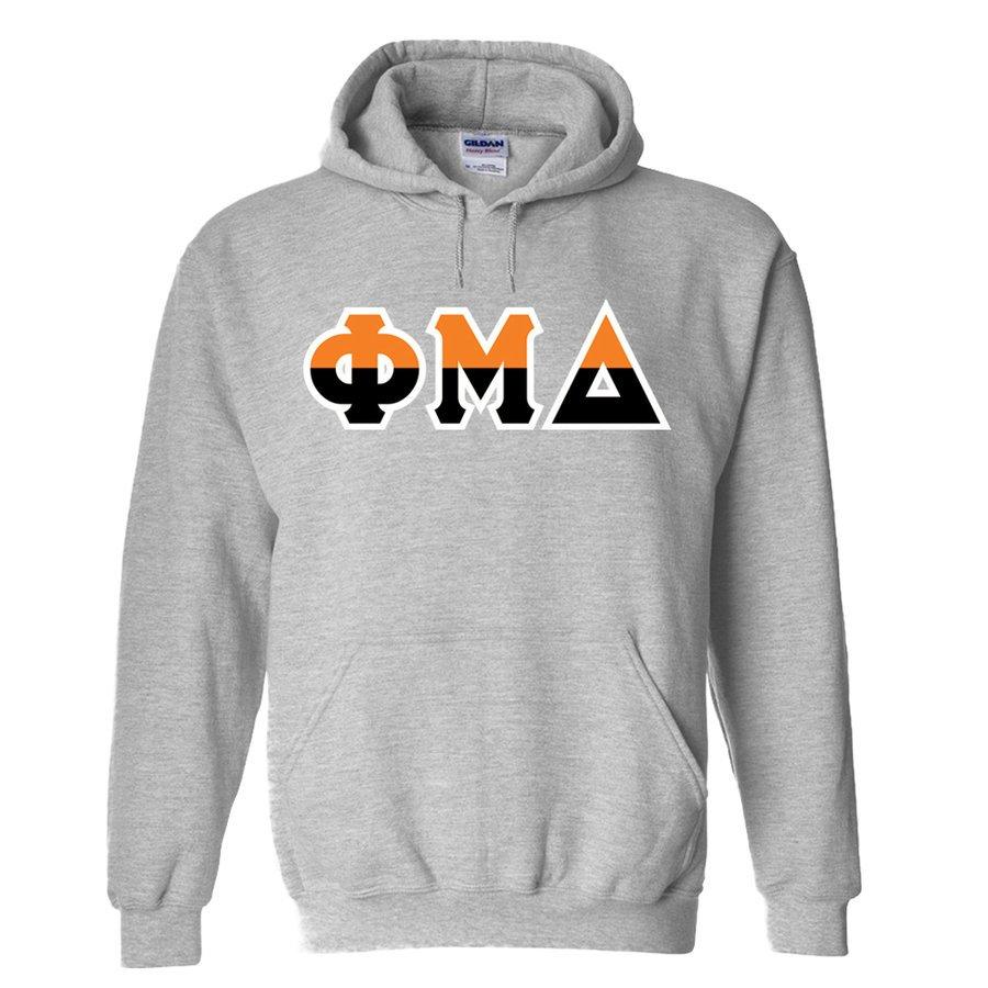 Phi Mu Delta Two Tone Greek Lettered Hooded Sweatshirt