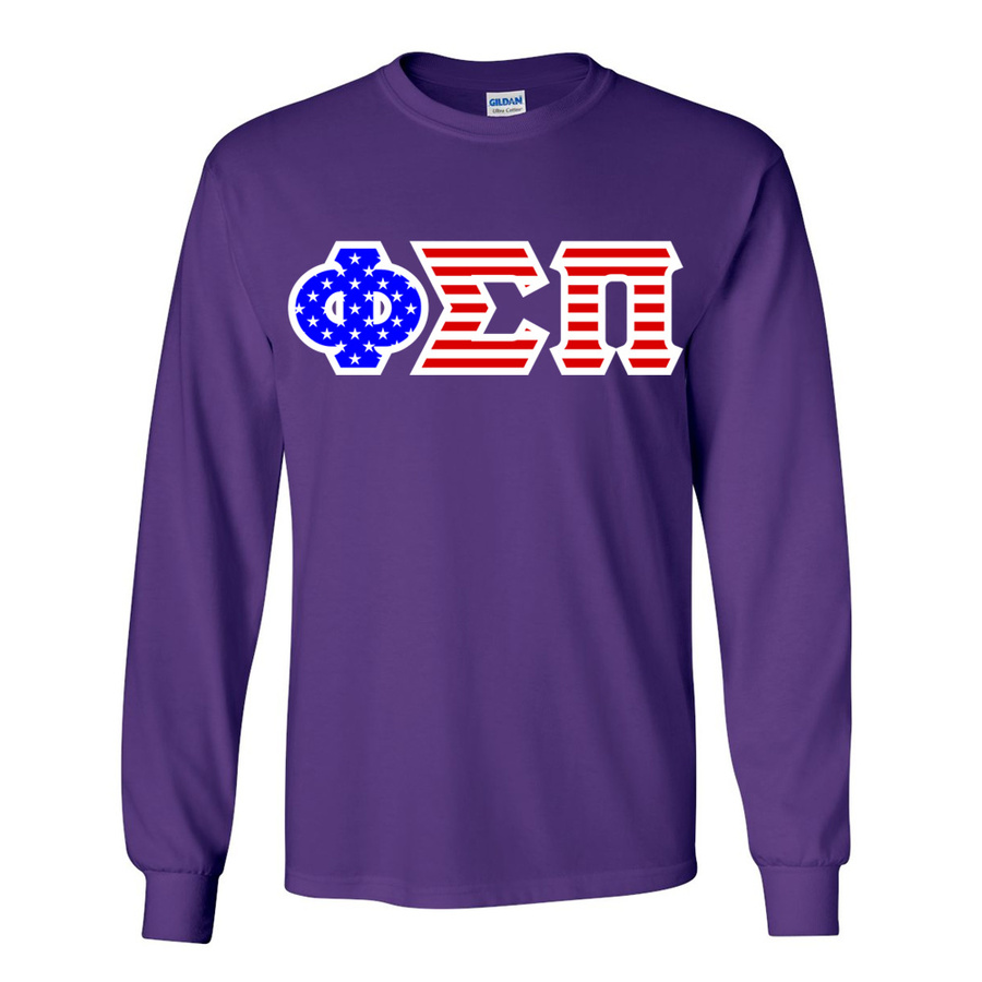 Phi Sigma Pi Greek Letter American Flag long sleeve tee