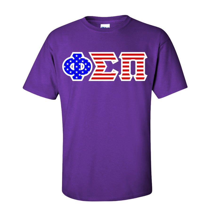 Phi Sigma Pi Greek Letter American Flag Tee