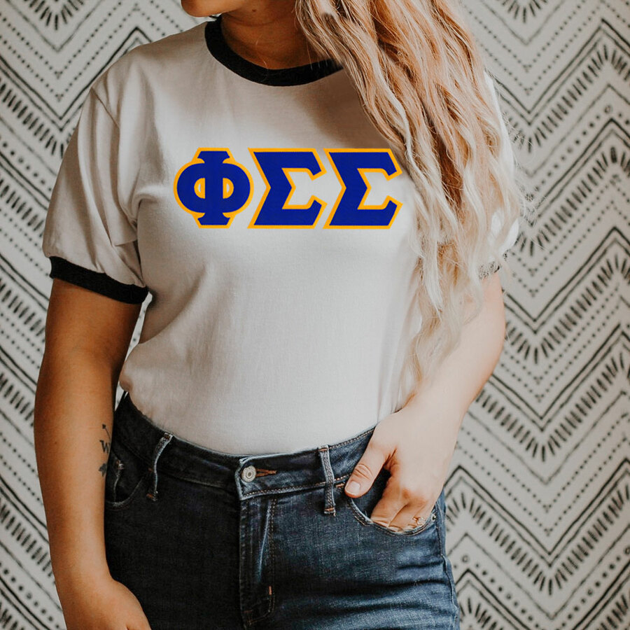 DISCOUNT-Phi Sigma Sigma Lettered Ringer Shirt