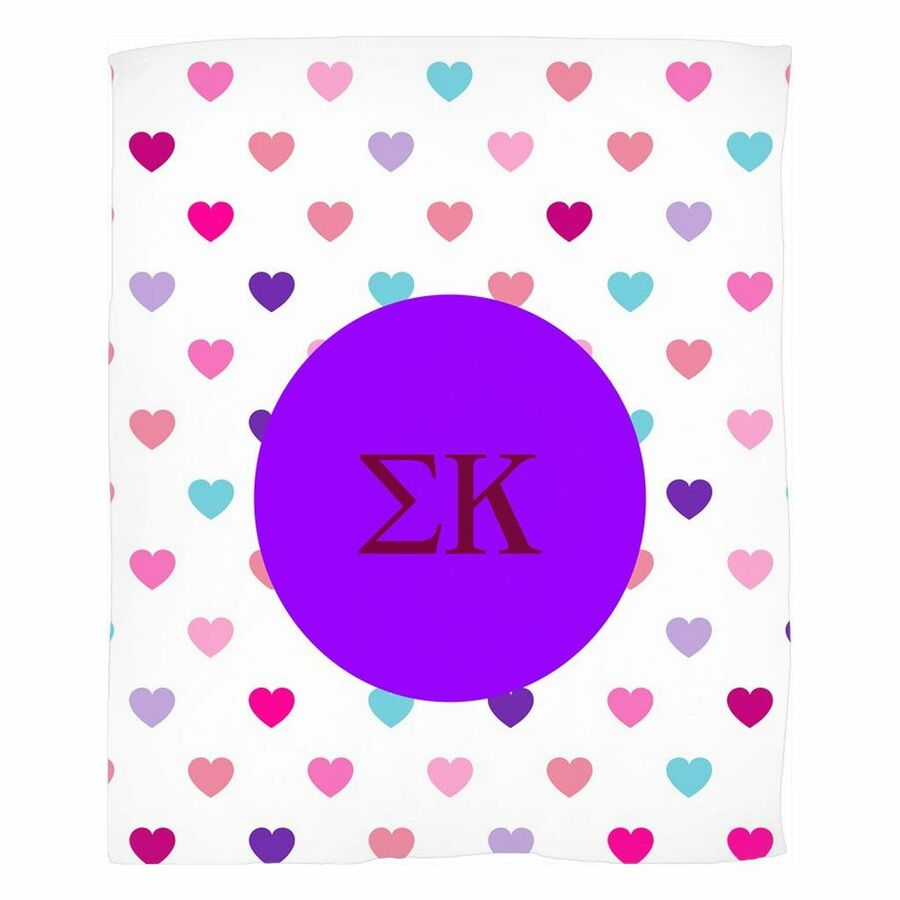 Sigma Kappa Hearts Fleece Blanket
