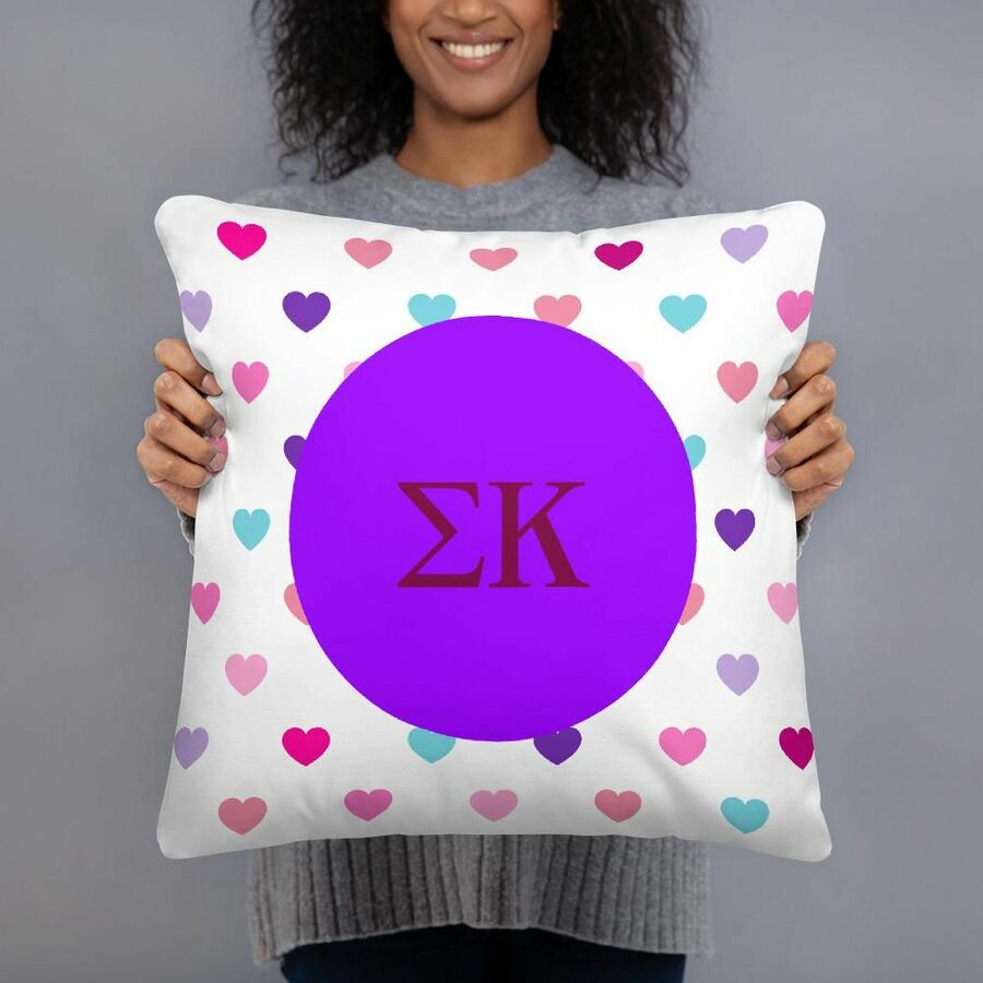Sigma Kappa Hearts Pillow