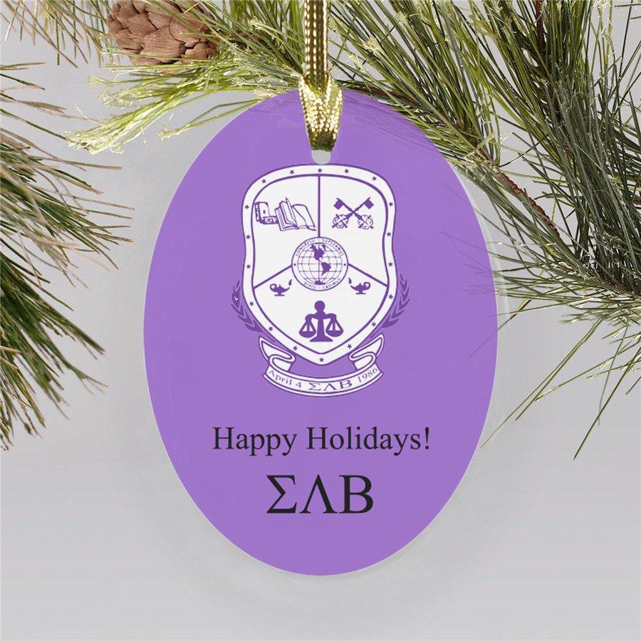 Sigma Lambda Beta Holiday Color Crest - Shield Ornament