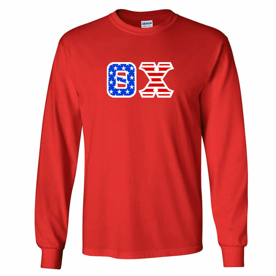 DISCOUNT-Theta Chi Greek Letter American Flag long sleeve tee