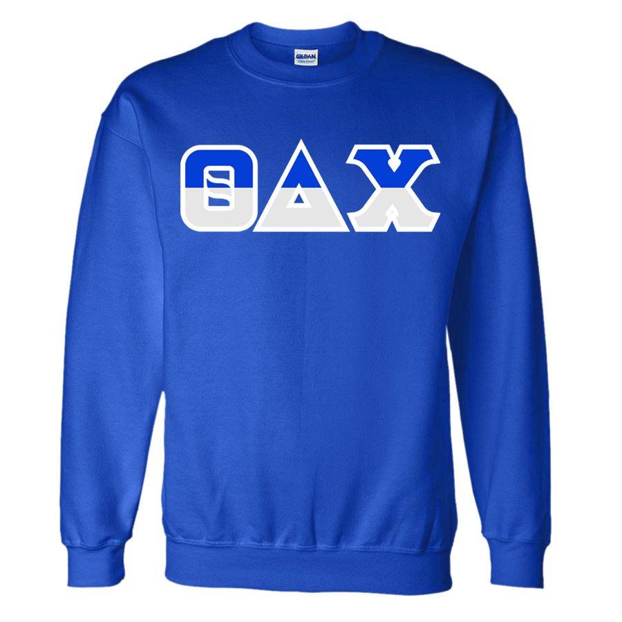 Theta Delta Chi Two Tone Greek Lettered Crewneck Sweatshirt