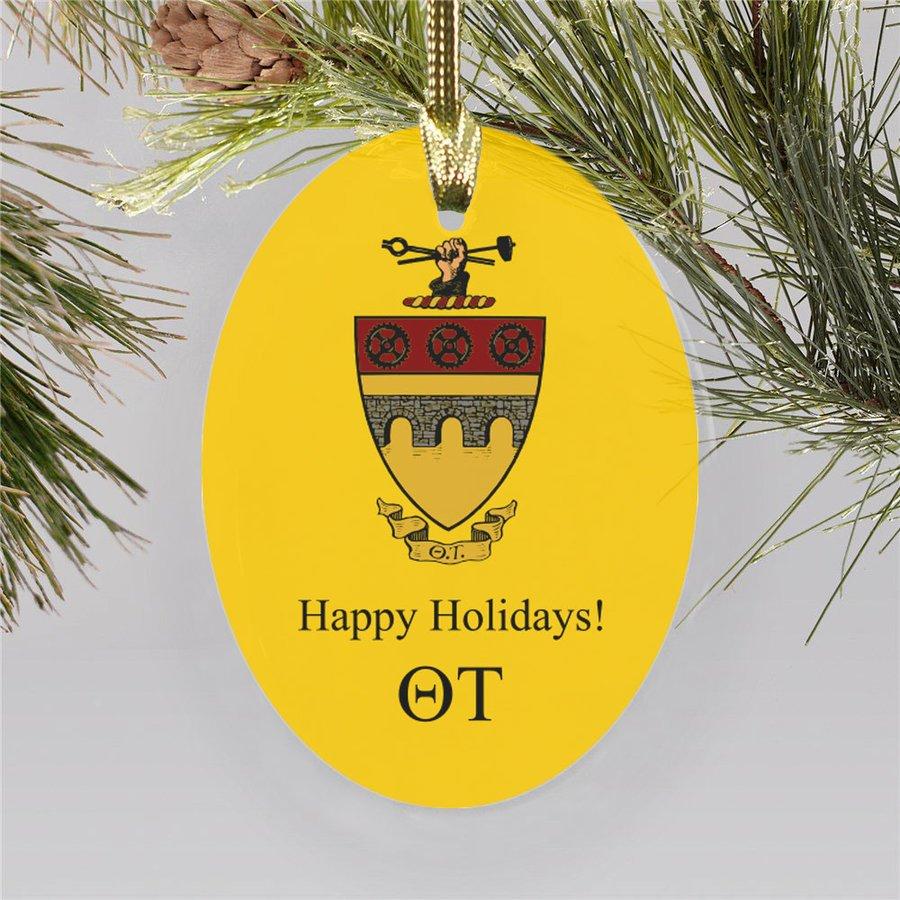 Theta Tau Holiday Color Crest - Shield Ornament