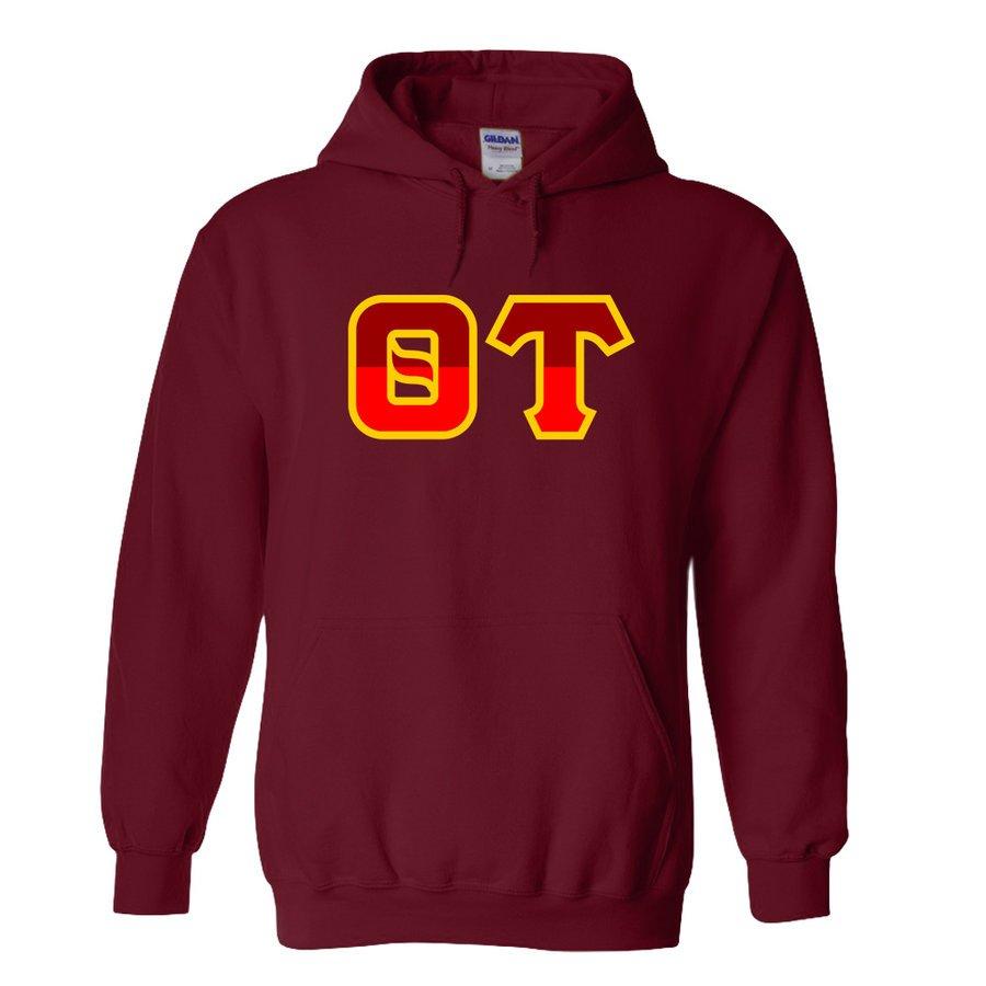 Theta Tau Two Tone Greek Lettered Hooded Sweatshirt