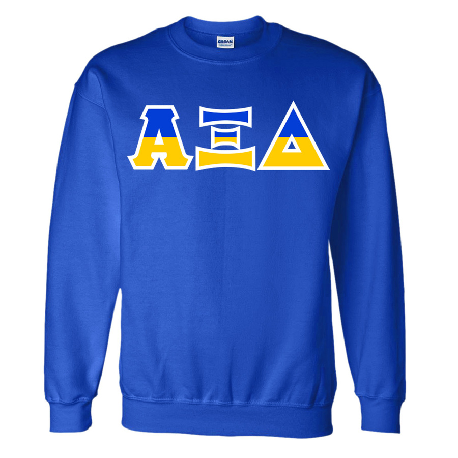Two Tone Hand Sewn Greek Lettered Crewneck Sweatshirt