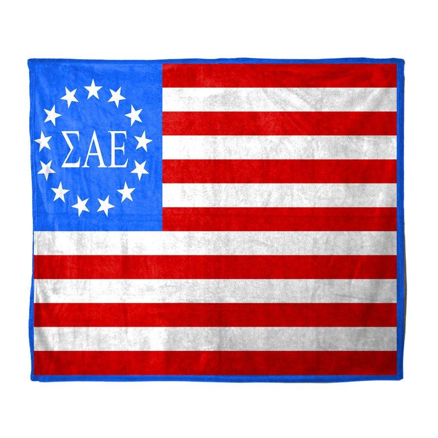 USA Flag Greek Letter Velveteen Blanket