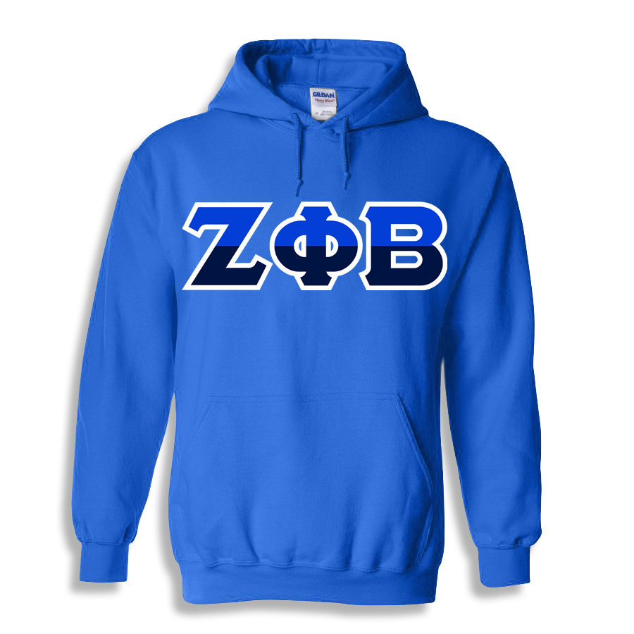 Zeta Phi Beta Two Tone Greek Lettered Hooded Sweatshirt