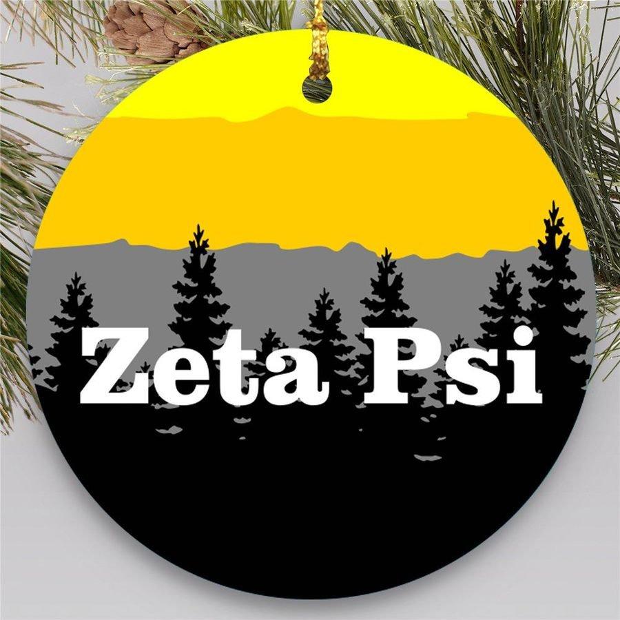 Zeta Psi Christmas Mountains Round Ornaments